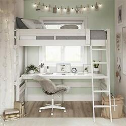 Harlan Wood Loft Bed With Ladder And Guard Rail - Twin White