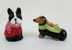 Dog Salt And Pepper Shakers Boston Terrier Dachshund With Sweater Scarf Flaw