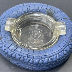 Vintage 1940's Firestone The Mark Of Quality Blue Tire Glass Ashtray Very Rare