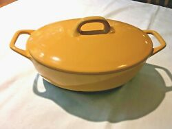 Bobby Flay 3.5 Qt Gold Oval Casserole Dish With Lid Stoneware Oven Safe