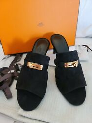 Hermes Suede Leather Rose Gold Kelly Buckle 2.8in Hill Sandal Size 9eu Fits9-9.5