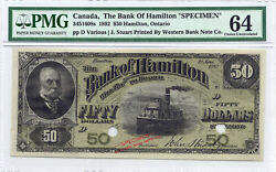 ✪ 1892 50 The Royal Bank Of Hamilton Canada - Pmg Unc 64 Specimen - With Boat