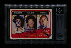 1972-73 Topps Rebounds Leaders 263 All 3 Erving Rc Hof Signed Auto Beckett Bas