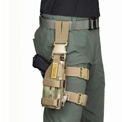 Tactical Drop Leg Pistol Holster Thigh Molle Right Handed Pouch Hunting Gear