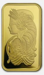 1 Ounce Gold Bar Pamp Suisse Lady Fortuna Veriscan .9999 Fine In Assay/sealed
