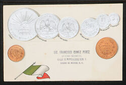45.-1900's Vintage Mexico Embossed Copper And Silver Coins And Flag Postcard