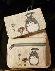 Loungefly My Neighbor Totoro Rainy Bus Stop Mini Backpack And Matching Walletnwt