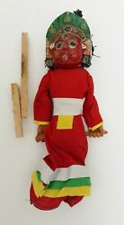 Nepal Handmade Dancing Doll Single Face Puppet Clay Paper Mache Cloth Red