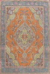 Orange Floral Medallion Traditional Oriental Area Rug Wool Hand-knotted 10x13 Ft