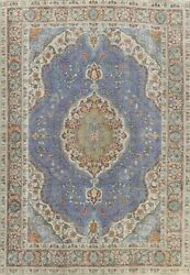 Vintage Blue Floral Traditional Area Rug Evenly Low Pile Oriental Handmade 8x11