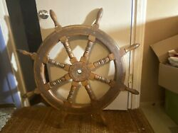 Antique Ships Wheel Steel And Wood Very Good Used Condition 48andrdquo Wide