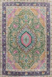 Antique Floral Traditional Area Rug Evenly Low Pile Green Hand-knotted 10x13 Ft