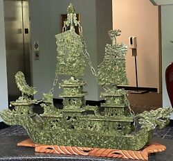 Stunning Chinese Asian 46andrdquo Green Jade Carved Dragon Ship Boat On Wooden Stand