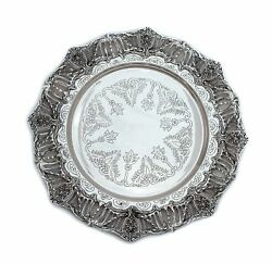 925 Sterling Silver Glossy Handmade Chased And Filigree American Border Round Tray