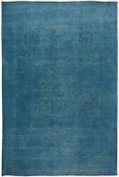 Antique Blue Overdyed Traditional Area Rug Evenly Low Pile Hand-knotted 10x12