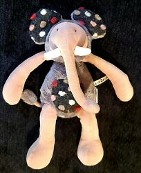 Elephant Plush Moulin Roty Doll Les Zazous Collection Gray Pink Textured Dots