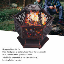 Steel Hexagonal Bbq Charcoal Barbecue Grill Warming Fire‑pit For Picnic Camping.