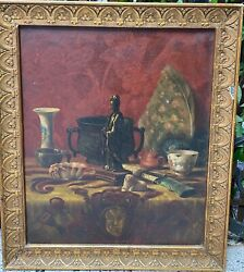 Painting Antique School French 1873 - Still Life Presentation - Signed In