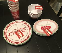 Coca Cola Gibson Melamine Plates Bowls Glasses Tumblers Serving Tray 17 Items