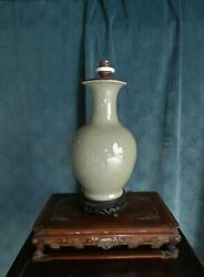 Longquan Fine Carved Celadon Baluster Vase Lamp Mounted China Xixth Xxth Century