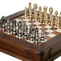 Solid Brass Chess Set With Beautiful Beech Wood Chess Table