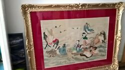 Chinese Painting On Silk Of The Eight Immortals In Ornate Frame 20th Century