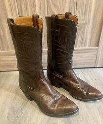 Vintage R.j. Foley Menandrsquos Leather And Lizard Skin Cowboy Boots Size 9.5d Made In Us