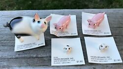 Lot Of 5 Adorable Hagen Renaker Miniature Porcelain Pigs On Cards All Perfect
