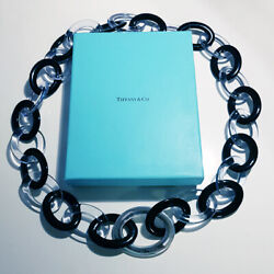 And Co Paloma Picasso Lucite / Resin Link And Sterling Silver Necklace -rare