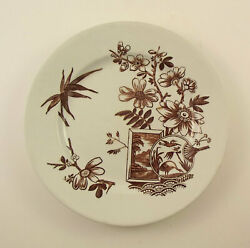 """Aesthetic H Alcock And Co Kenilworth Pattern 9"""" Plate Brown Transfer 1886 Cobridge"""