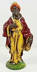 Vintage Fontanini Paper Mache 8 Standing Black Wise Man Nativity Italy