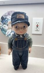 Vintage Buddy Lee Composition Doll Union Made Overalls Jeans Railroad Engineer