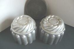 Vintage Decorative 2 Pudding Jello Cake Tins Steam With Lid