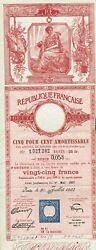 France Republic 5 Loan Stock Certificate W/coupons 1937