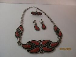 Vintage Native Am. Zuni Silver And Red Coral Necklace, Earring And Ring Set Signed