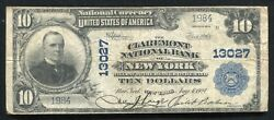 1902 10 Claremont National Bank Of New York, Ny National Currency Ch. 13027