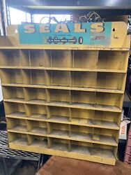 Vintage Gas Oil Store Display Metal Us Seals Auto Great Color 60s 30 Compartment