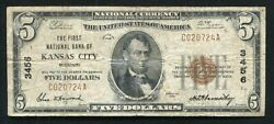 1929 5 The First National Bank Of Kansas City Mo National Currency Ch. 3456