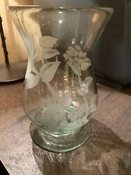 Signed Hand Blown Etched Bubble Glass Vase