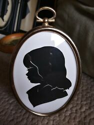 Vintage Paper Cut Silhouette Portrait Young Girl Convex Oval Gold Tabletop Frame