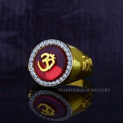 Om God Gold Mens Ring 22k Yellow Gold Cubic Zircon And Rhodium Color Ring 21