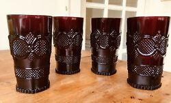 Four Avon 1876 Ruby Red Cape Cod Tumbler Water Glass 5.5
