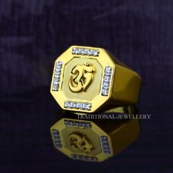 Om God Gold Mens Ring 22k Yellow Gold Cubic Zircon And Rhodium Color Ring 23