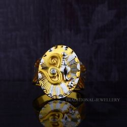 Om God Gold Mens Ring 22k Yellow Gold Cubic Zircon And Rhodium Color Ring 26