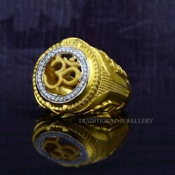 Om God Gold Mens Ring 22k Yellow Gold Cubic Zircon And Rhodium Color Ring 32