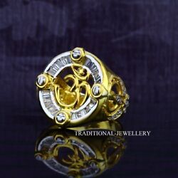 Om And Punjabi Khalasa God Sign Gold Mens Ring 22k Yellow Gold Cubic Zircon 34