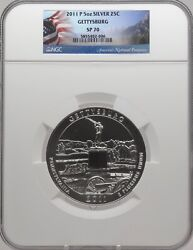 2011 P 5oz Silver 25c Gettysburg Ngc Sp 70 Flag Label Perfect Must See