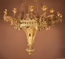 French Antique Gothic Revival Gilt Bronze Chandelier/hanging Lamp