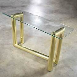 Vintage Modern Brass Plate Console Sofa Table Glass Top After Karl Springer 1970