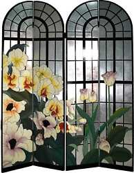 1980s Japanese Arched Window Silver Leaf Tulip Coromandel Screen With 4 Panels